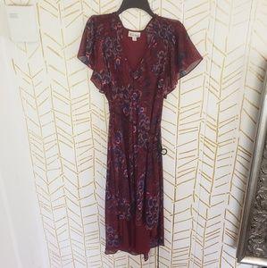 Floral Burgundy  High Low Dress